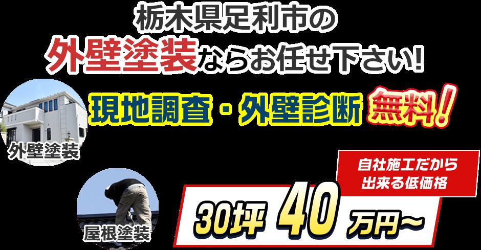 栃木県足利市の外壁塗装ならお任せ下さい! 現地調査・外壁診断無料! 外壁塗装・屋根塗装 自社施工だから出来る低価格 30坪40万円~
